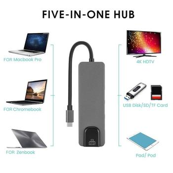 Thunderbolt 3 USB C Tipa Rumbu 4K Docking Station Adapteris USB 3.0 Klēpjdatoru piederumi USB-C PD Converter for Macbook Air 2020